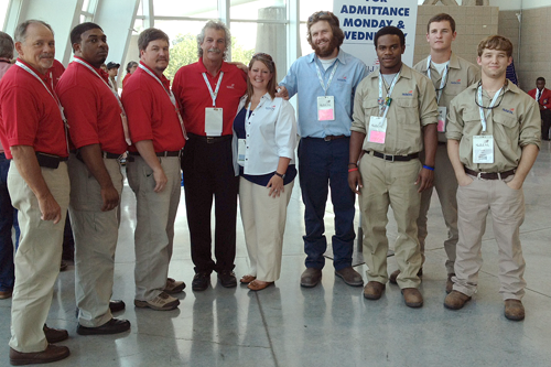 IN THE PHOTO:  Pictured from left to right: Dwight Myrick, Career Tech Director; Ben Lewis, Welding Instructor; Cham Blain, Engineering Technology Instructor; Eddie Ellis, Collision Repair Instructor;  Heather Mooney, Engineering Instructor; Patrick Stewart, Collision Repair student; Courtney Meeks, Hunter Blain and Wade Self, Welding students.